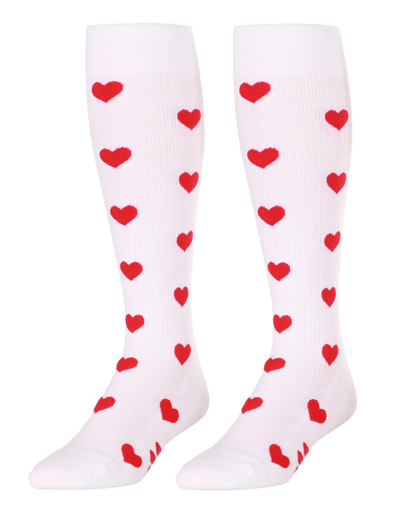 M906WH, Firm Support (20-30mmHg) White Knee High Compression Socks, Front View