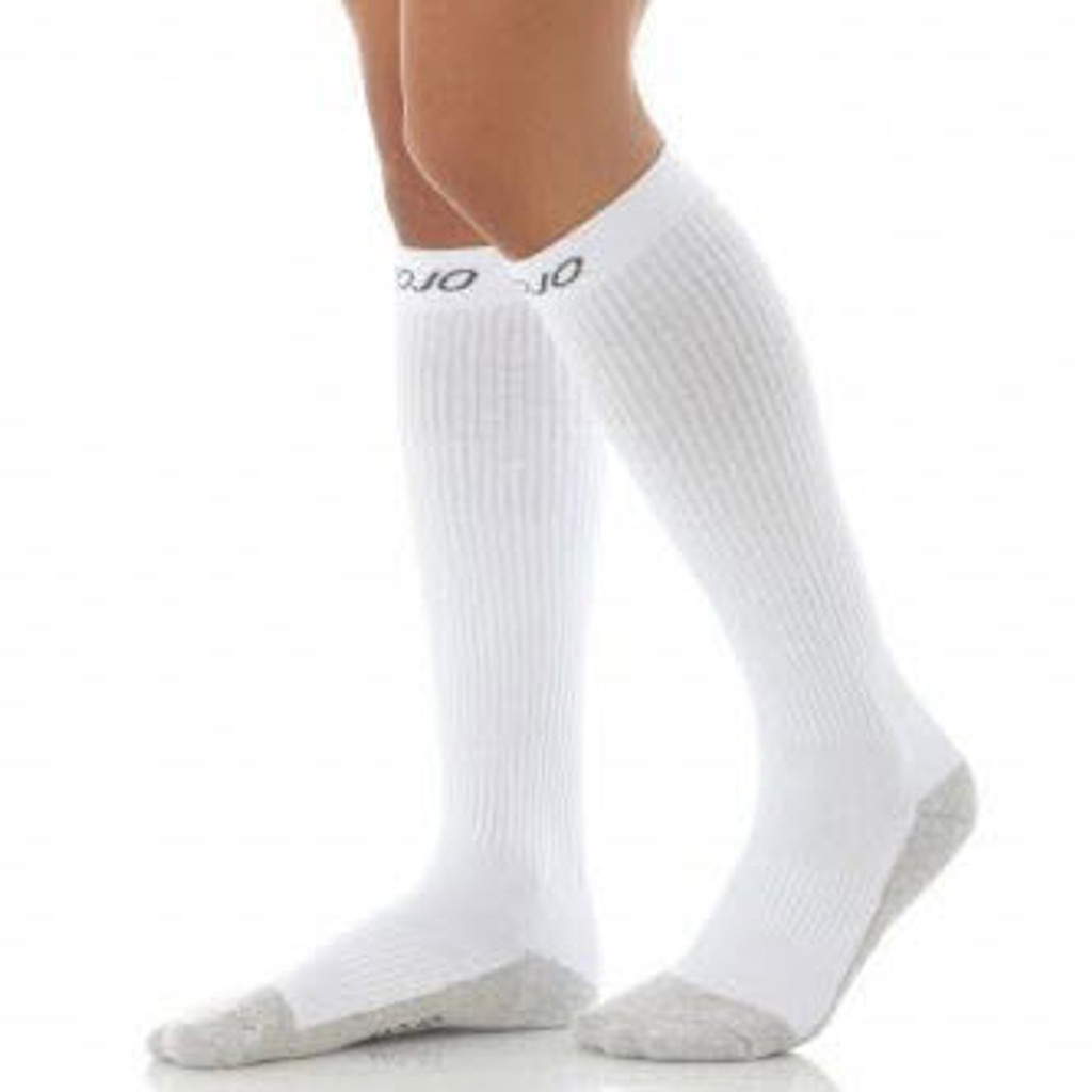 A506WH, Firm Support (20-30mmHg) White Knee High Compression Socks, Front View