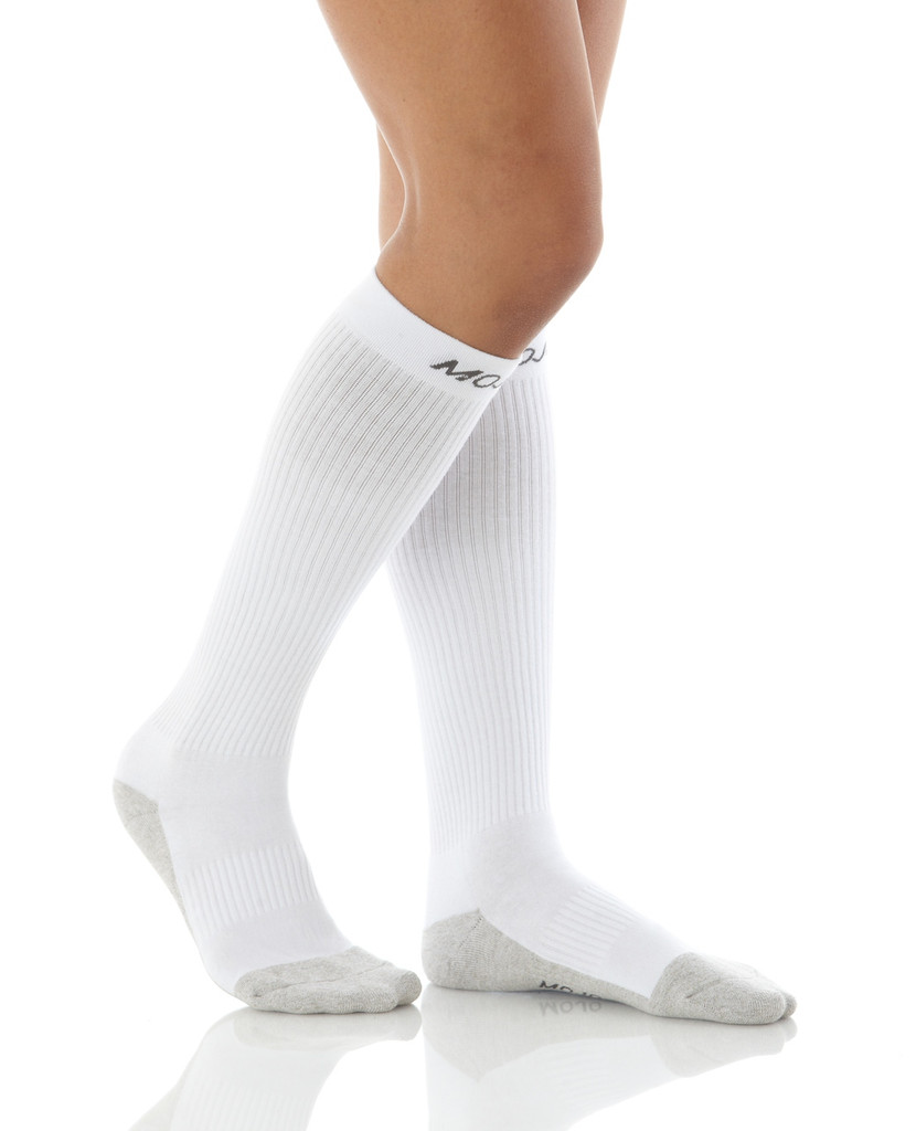 A506WH, Firm Support (20-30mmHg) White Knee High Compression Socks, Rear View