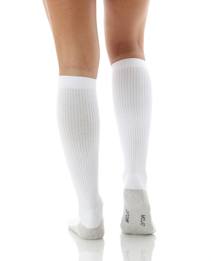 A506WH, Firm Support (20-30mmHg) White Knee High Compression Socks, Back View