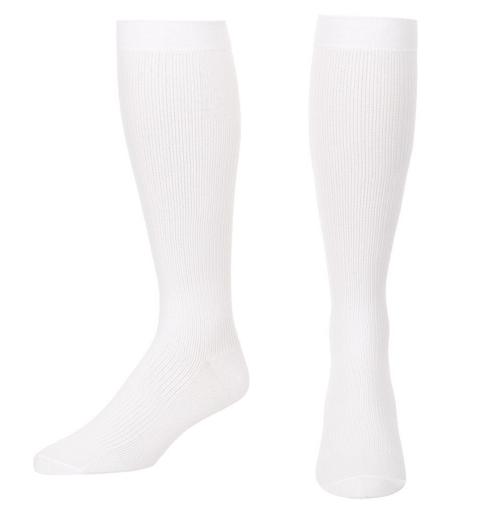 A104WH, Firm Support (20-30mmHg) White Knee High Compression Socks, Front View