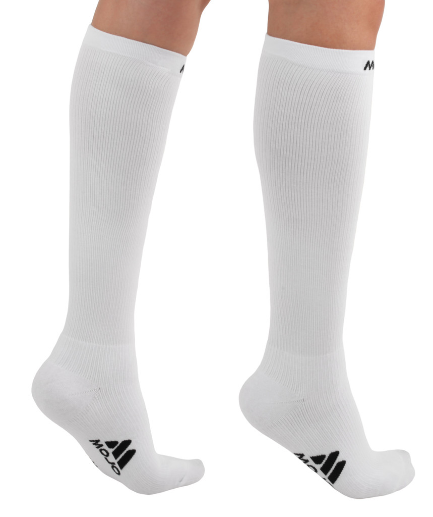 A106WH, Medium Support (15-20mmHg) White Knee High Compression Socks, Back View