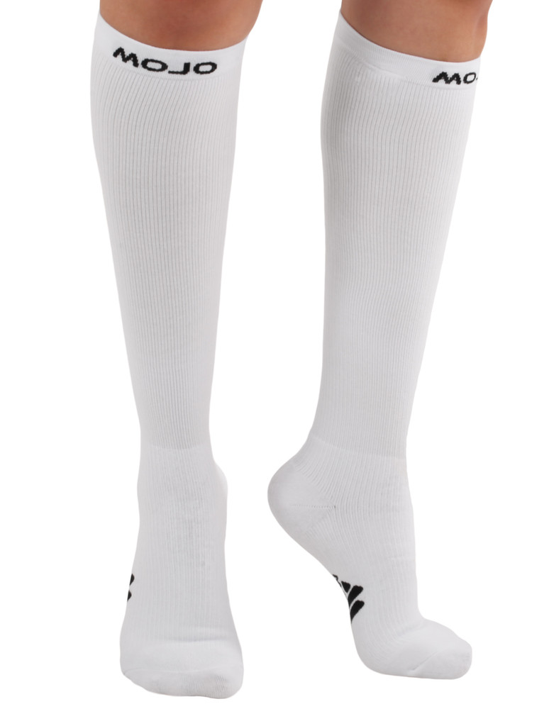 A106WH, Medium Support (15-20mmHg) White Knee High Compression Socks, Rear View