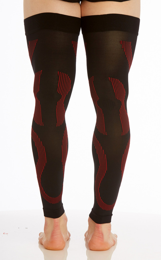 A609BR, Firm Support (20-30mmHg) Black Red Knee High Compression Socks, Back View