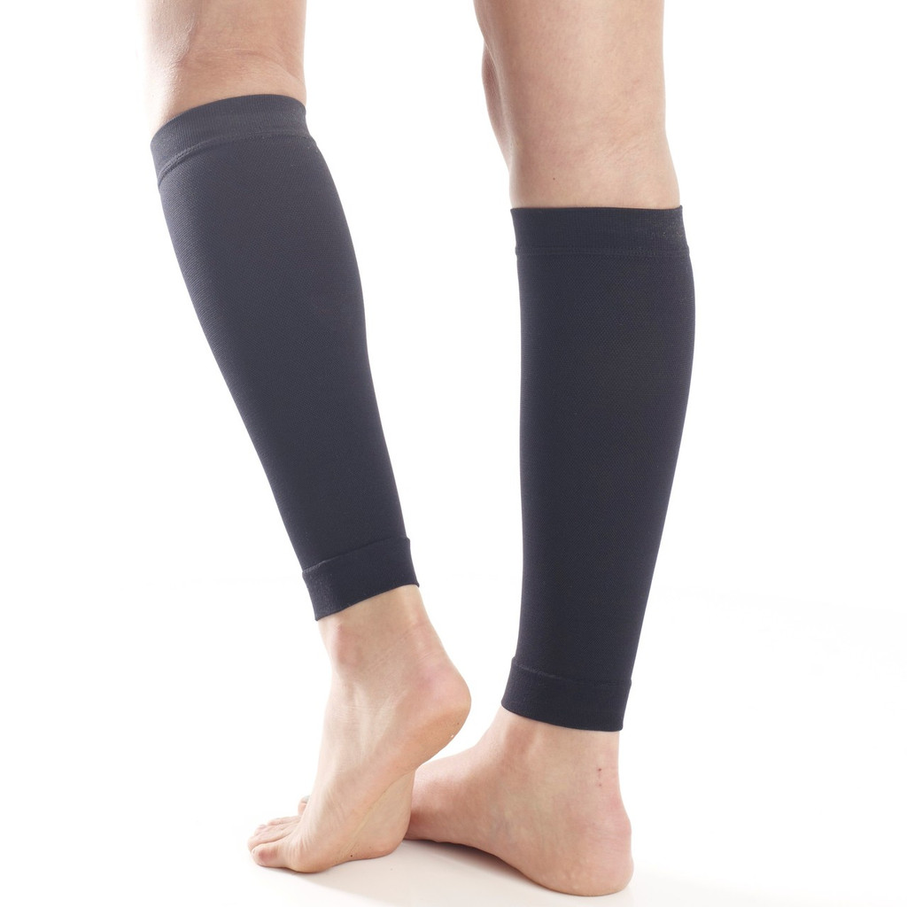 A711BL, Firm Support (20-30mmHg) Black Knee High Compression Socks, Back View