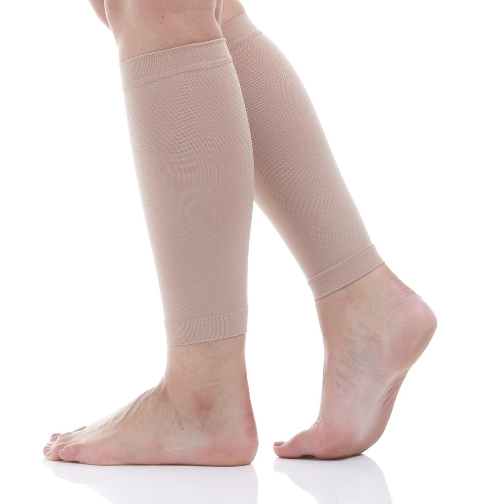 A712BE, Firm Support (20-30mmHg) Beige Knee High Compression Socks, Rear View