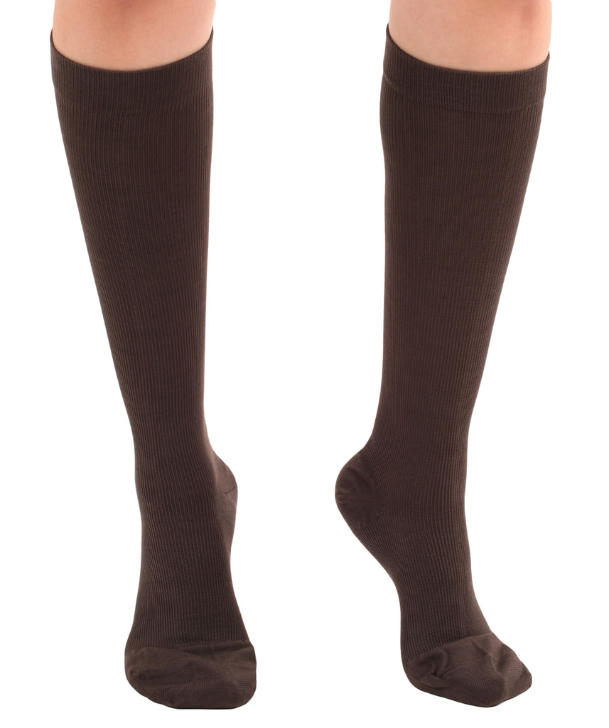 A105BR, Firm Support (20-30mmHg) Brown Knee High Compression Socks, Rear View