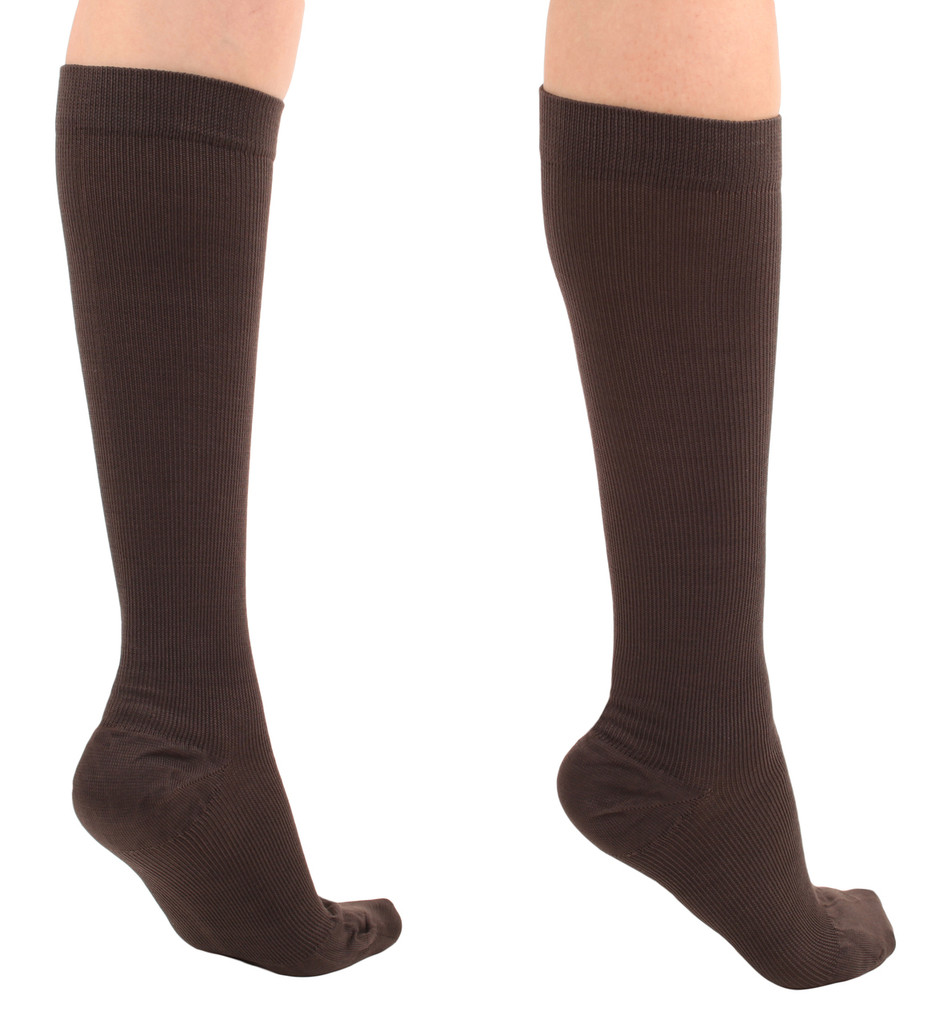 A105BR, Firm Support (20-30mmHg) Brown Knee High Compression Socks, Back View