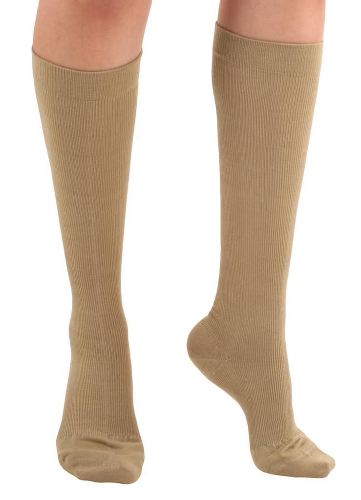 A105KH, Firm Support (20-30mmHg) Khaki Knee High Compression Socks, Rear View