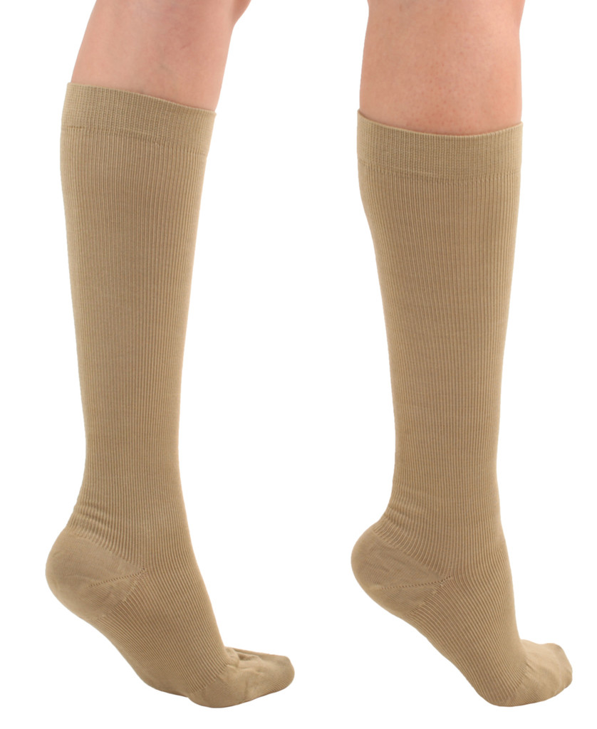 A105KH, Firm Support (20-30mmHg) Khaki Knee High Compression Socks, Back View