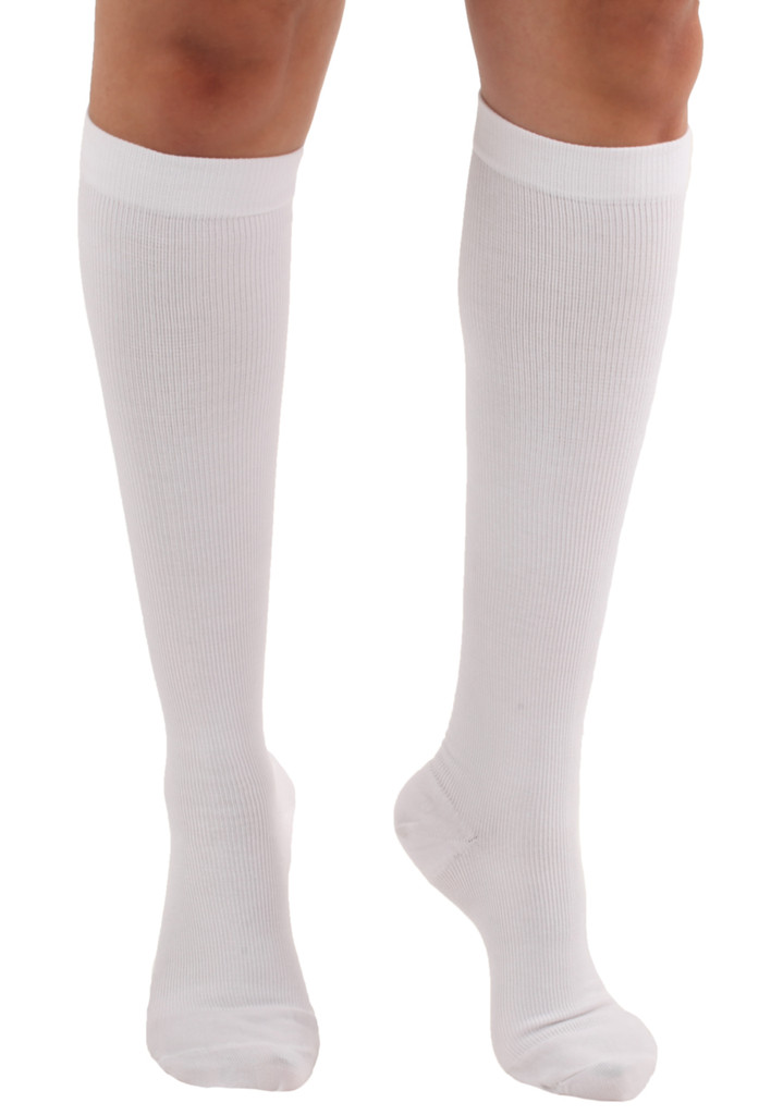A105WH, Firm Support (20-30mmHg) White Knee High Compression Socks, Front View