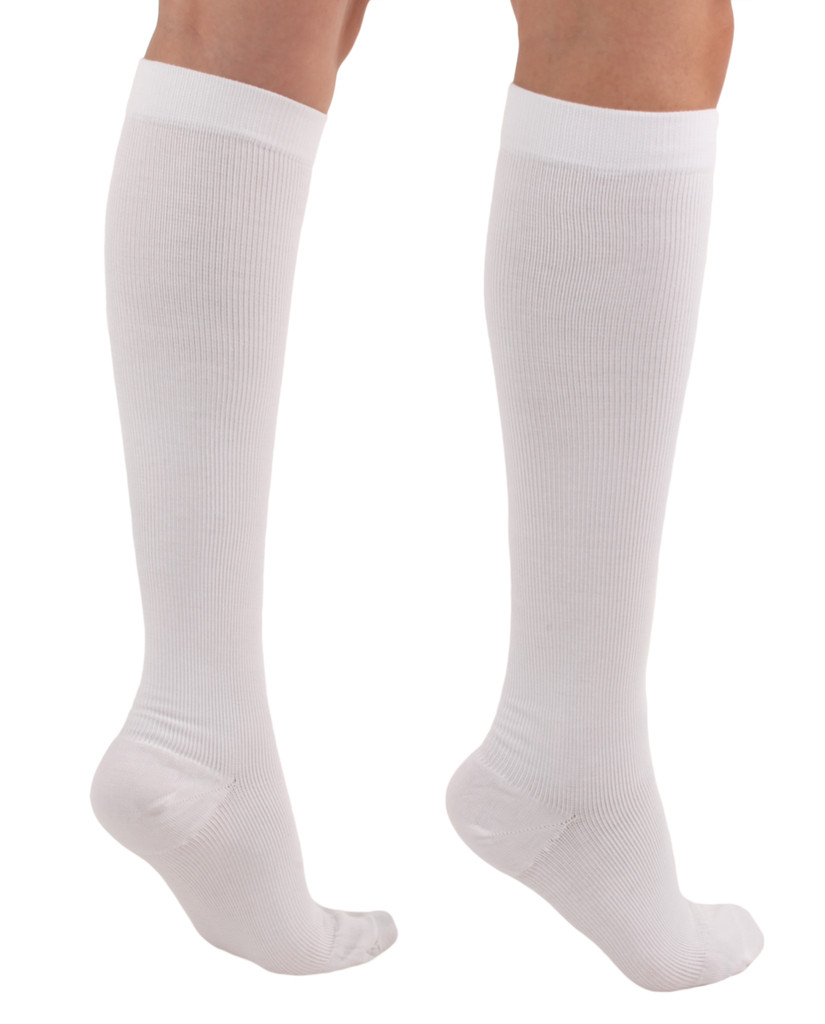 A105WH, Firm Support (20-30mmHg) White Knee High Compression Socks, Rear View
