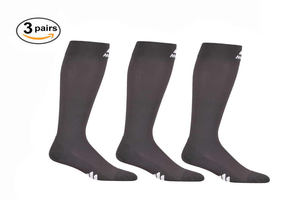 M809CG_3, Firm Support (20-30mmHg) Carbon Gray Knee High Compression Socks, Front View