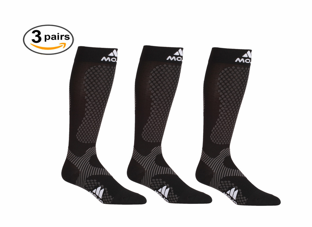 A603BL_3, Firm Support (20-30mmHg) Black Knee High Compression Socks, Front View