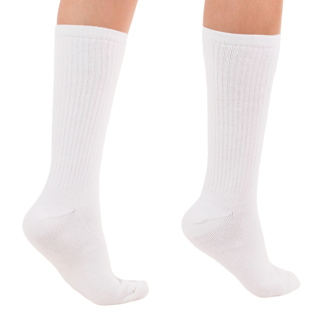 A1017WH, Light Support (8-15mmHg) White Knee High Compression Socks, Rear View