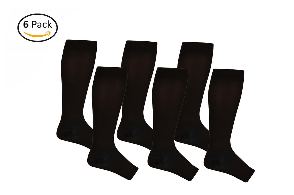 AB211BL_6, Firm Support (20-30mmHg) Black Knee High Compression Socks, Front View