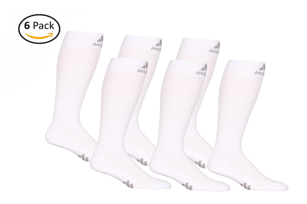M809WH_6, Firm Support (20-30mmHg) White Knee High Compression Socks, Front View