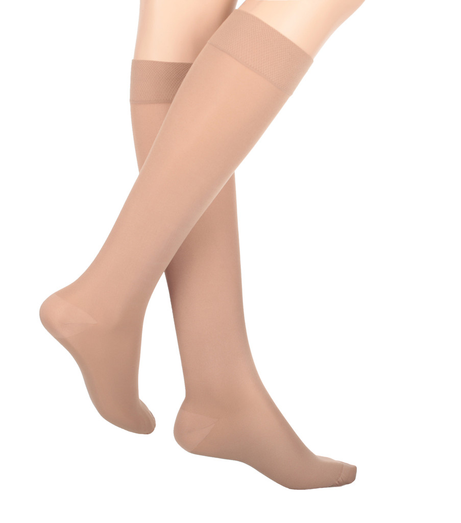 A131BE, Firm Support (20-30mmHg) Beige Knee High Compression Socks, Front View