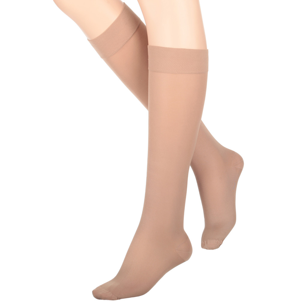 A131BE, Firm Support (20-30mmHg) Beige Knee High Compression Socks, Rear View