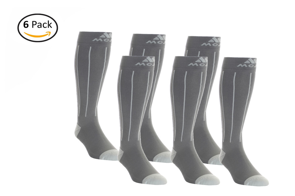 M816GS_6, Firm Support (20-30mmHg) Light Gray Stripe Knee High Compression Socks, Front View