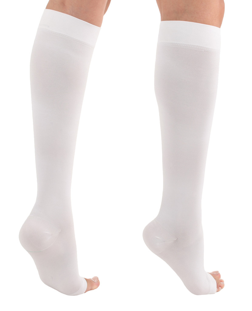 A211WH, Firm Support (20-30mmHg) White Knee High Compression Socks, Back View
