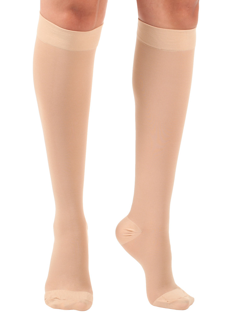 A201BE, Firm Support (20-30mmHg) Beige Knee High Compression Socks, Front View