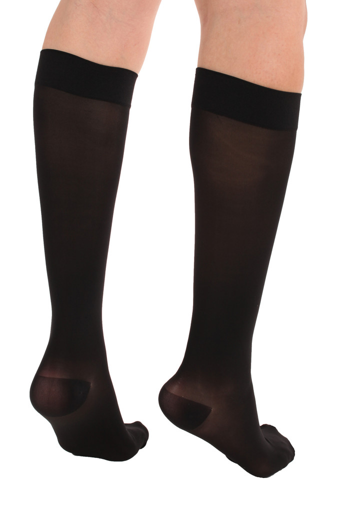 A2013BL, Firm Support (20-30mmHg) Black Knee High Compression Socks, Black View