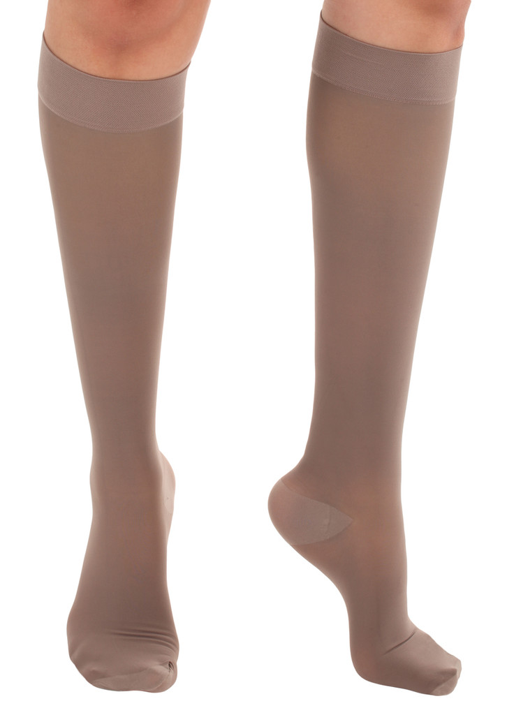 A2013TP, Firm Support (20-30mmHg) Taupe Knee High Compression Socks, Front View