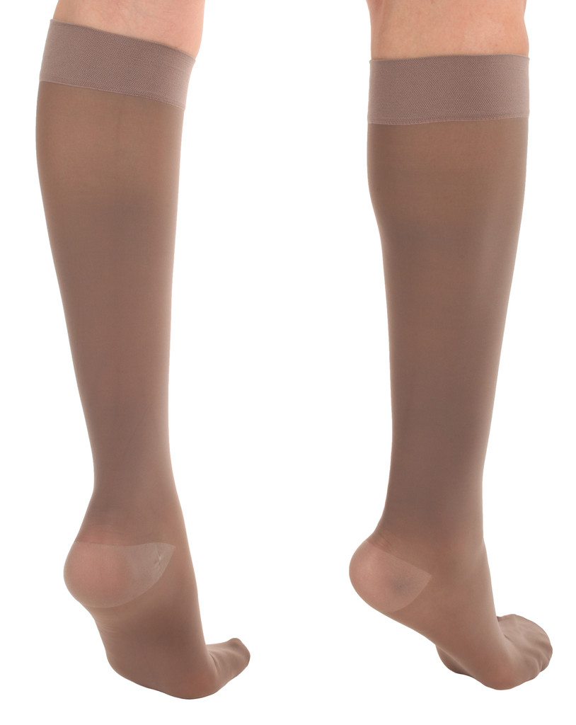 A2013TP, Firm Support (20-30mmHg) Taupe Knee High Compression Socks, Back View