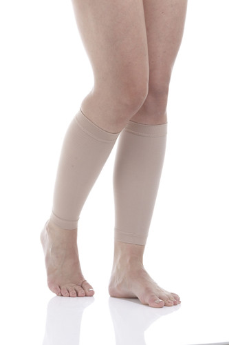 A711BE, Firm Support (20-30mmHg) Beige Knee High Compression Socks, Front View