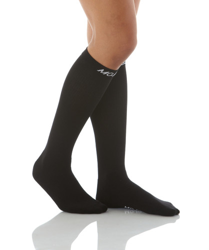 A106BL, Firm Support (20-30mmHg) Black Knee High Compression Socks, Rear View