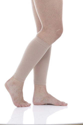 A713BE, Firm Support (20-30mmHg) Beige Knee High Compression Socks, Rear View