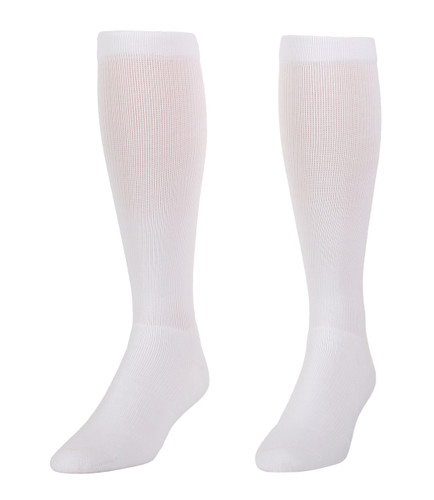 A114WH, Firm Support (20-30mmHg) White Knee High Compression Socks, Front View