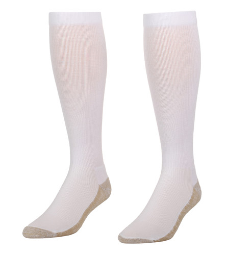 A117WH, Firm Support (20-30mmHg) White Knee High Compression Socks, Front View
