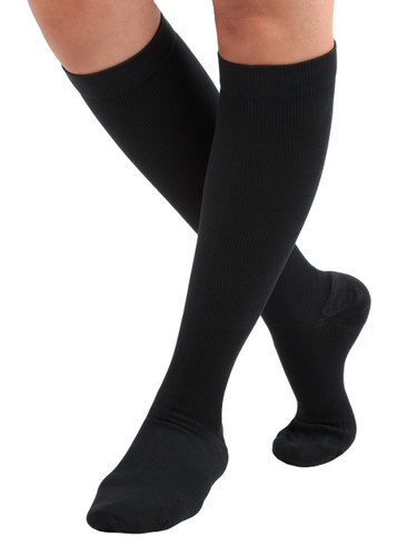 A105BL, Firm Support (20-30mmHg) Black Knee High Compression Socks, Front View