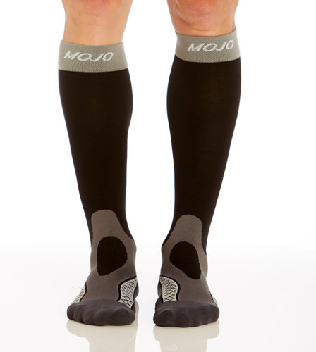 M803, Firm Support (20-30mmHg) Black Knee High Compression Socks, Front View