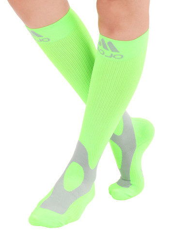 A601NG, Firm Support (20-30mmHg) Neon Green Knee High Compression Socks, Front View