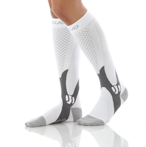 A602WH, Firm Support (20-30mmHg) White Knee High Compression Socks, Rear View