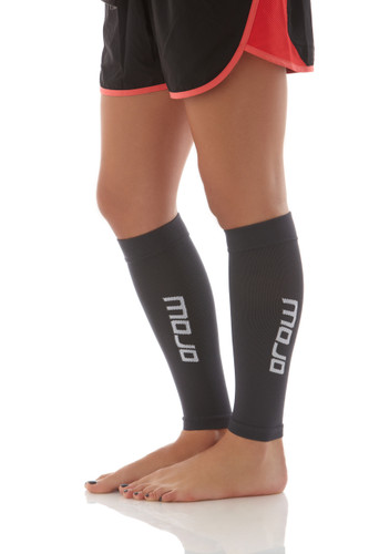 A605GR, Firm Support (20-30mmHg) Gray Knee High Compression Socks, Side View