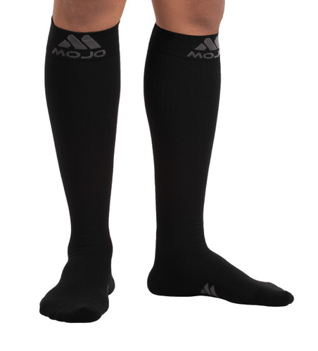 M809BL, Firm Support (20-30mmHg) Black Knee High Compression Socks, Rear View