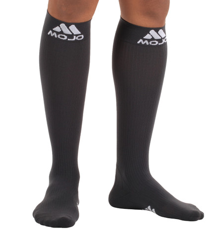 M809CG, Firm Support (20-30mmHg) Carbon Gray Knee High Compression Socks, Rear View