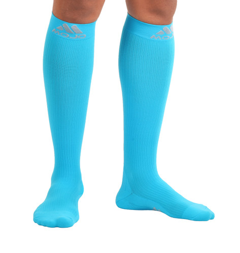 M809SB, Firm Support (20-30mmHg) Sky Blue Knee High Compression Socks, Rear View