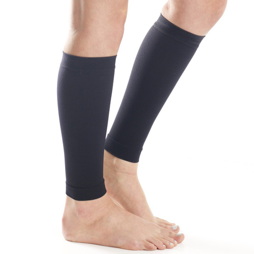 A712BL, Firm Support (20-30mmHg) Black Knee High Compression Socks, Rear View