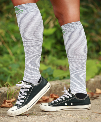 Mojo Compression Socks™ Mojo Sport Space Dyed White Over-The-Calf Compression Socks