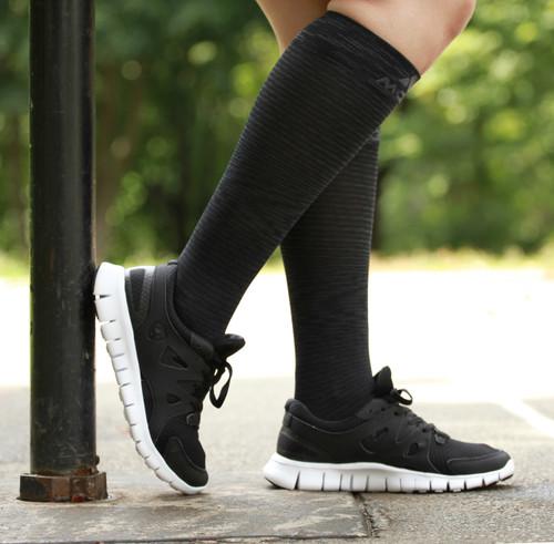 M812BL, Firm Support (20-30mmHg) Black Knee High Compression Socks, Side View