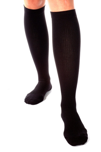A104BL, Firm Support (20-30mmHg) Black Knee High Compression Socks, Front View