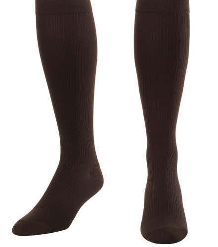 A104BR, Firm Support (20-30mmHg) Brown Knee High Compression Socks, Front View
