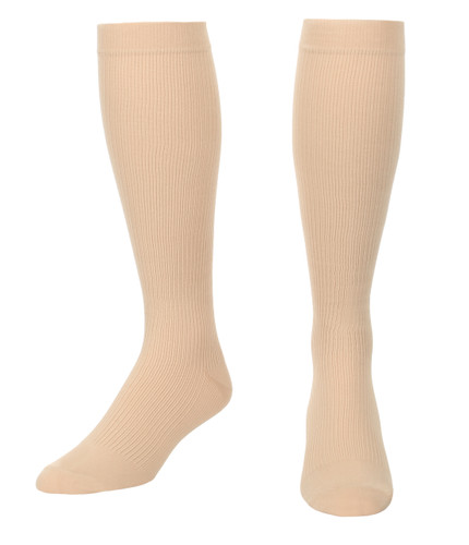 A104TN, Firm Support (20-30mmHg) Beige Knee High Compression Socks, Front View