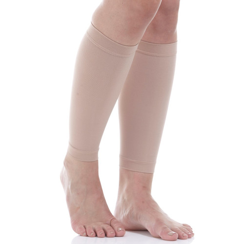 A712BE, Firm Support (20-30mmHg) Beige Knee High Compression Socks, Front View
