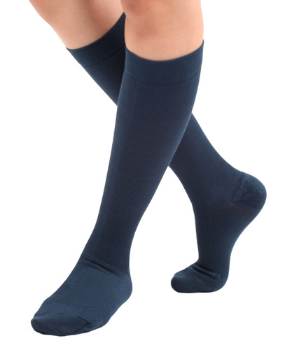 A105NV, Firm Support (20-30mmHg) Navy Knee High Compression Socks, Front View